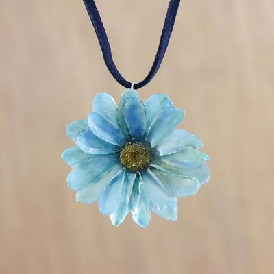 Natural aster pendant necklace, 'Blue View' - Blue Natural Aster  and Leather Pendant Necklace