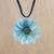 Natural aster pendant necklace, 'Blue View' - Blue Natural Aster  and Leather Pendant Necklace thumbail