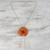Gold plated natural flower lariat necklace, 'Ginger Garden Rose' - Dark Orange Natural Rose Gold-Plated Lariat Necklace (image 2b) thumbail