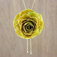 Natural flower lariat necklace Sunlight Rose (Thailand)