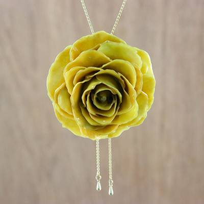 Natural flower lariat necklace, 'Sunlight Rose' - Resin Dipped Yellow Rose 24K Gold Plated Lariat Necklace