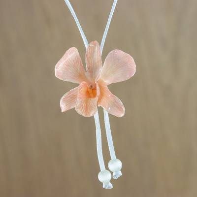 Natural flower lariat necklace, 'Blush Orchid' - Resin Dipped Real Pink Orchid and Leather Lariat Necklace