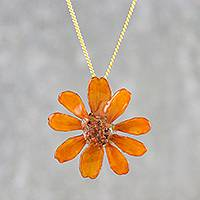 Natural flower pendant necklace, 'Zinnia Charm in Orange' - Gold-Plated Orange Natural Preserved Zinnia Necklace