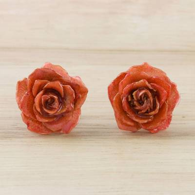 Natural flower button earrings, 'Petite Rose in Red-Orange' - Resin Dipped Red-Orange Real Miniature Rose Button Earrings