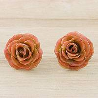 Natural flower button earrings, 'Petite Rose in Light Orange' - Resin Dipped Light Orange Miniature Rose Button Earrings
