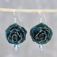Natural flower dangle earrings, 'Captured Beauty in Teal' - Resin Dipped Teal Real Miniature Rose Dangle Earrings