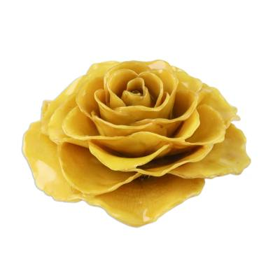 Artisan Crafted Natural Rose Brooch in Yellow from Thailand