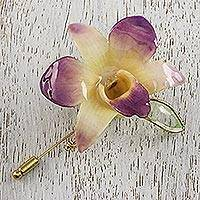 Gold accent natural flower brooch, 'Timeless Spring' - Handcrafted Purple Cream Natural Orchid Gold-Plated Stickpin