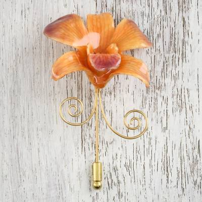 Gold accent natural flower brooch, 'Garden Sunset' - Orange and Purple Gold-Plated Natural Orchid Stickpin