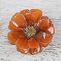 Natural cosmos brooch, 'Blooming Cosmos in Dark Orange' - Natural Cosmos Flower Brooch in Dark Orange from Thailand