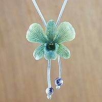 Natural orchid and sodalite lariat necklace, 'Exotic Tropical Bloom' - Blue and Yellow Natural Thai Orchid Long Lariat Necklace