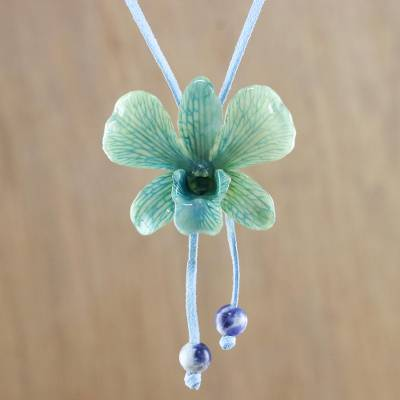 Natural orchid lariat necklace, 'Exotic Tropical Bloom' - Blue and Yellow Natural Thai Orchid Long Lariat Necklace