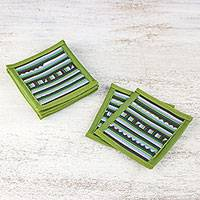 Cotton blend coasters, 'Lively Lahu in Olive' (set of 6) - Green Blue Brown Striped Cotton Blend Coasters (Set of 6)