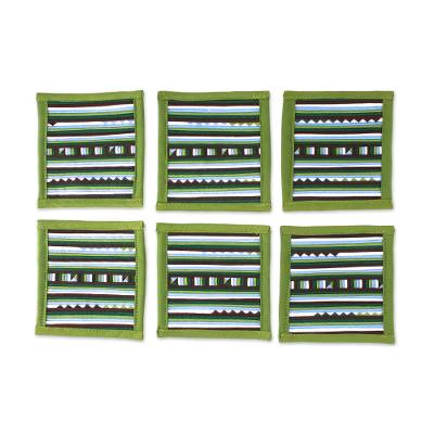 Green Blue Brown Striped Cotton Blend Coasters (Set of 6)