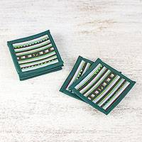 Cotton blend coasters, 'Lively Lahu in Emerald' (set of 6) - Striped Green Blue Brown Cotton Blend Coasters (Set of 6)