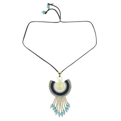 Adjustable Pendant Necklace in Grey from Thailand
