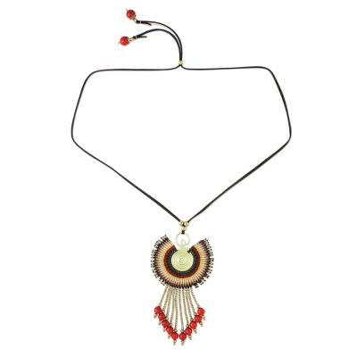 Adjustable Pendant Necklace in Brown from Thailand