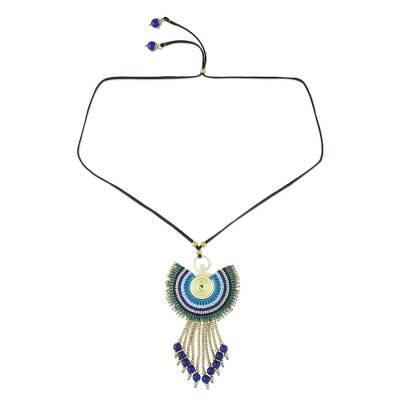 Quartz Pendant Necklace in Blue from Thailand