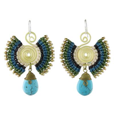 Brass and Calcite Dangle Earrings in Blue from Thailand