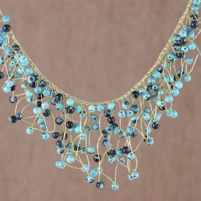 Glass beaded waterfall necklace, Fantasy Rain in Blue