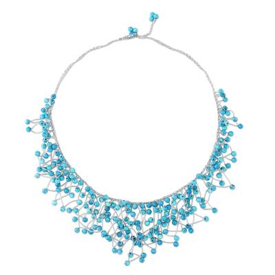 Glass Beaded Waterfall Necklace in Sky Blue from Thailand