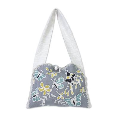 Butterfly Motif Batik Cotton Shoulder Bag from Thailand
