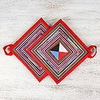 Cotton blend trivets, 'Lahu Cooking in Red' (pair) - Pair of Handmade Cotton Blend Trivets from Thailand