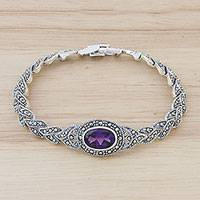 Amethyst link bracelet, 'Leaves of Violet' - Amethyst and Sterling Silver Link Bracelet from Thailand