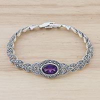 Amethyst link bracelet,