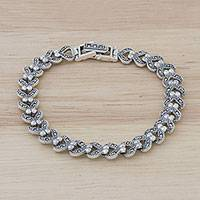 Sterling silver link bracelet, 'Abstract Love' - Marcasite and Sterling Silver Link Bracelet from Thailand
