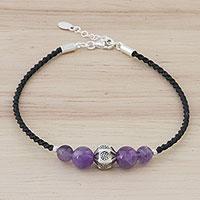 Amethyst pendant bracelet, 'Purple Hill Tribe' (Thailand)