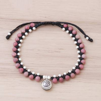 Rhodonite beaded macrame bracelet, 'Sweet Meditation' - Rhodonite Beaded Macrame Om Bracelet from Thailand