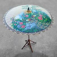 Cotton and bamboo parasol, 'Heavenly Peacocks' - Peacock-Themed Cotton and Bamboo Parasol in Buff