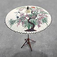 Cotton and bamboo parasol, 'Appealing Nature' - Crane-Themed Cotton and Bamboo Parasol in White