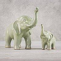 Celadon ceramic statuettes, 'Maternal Elephant' (pair) - Set of 2 Ceramic Statuettes of Mother and Calf Elephant