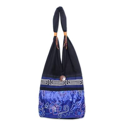 Black and Blue Cotton with Floral Pattern Shoulder Bag