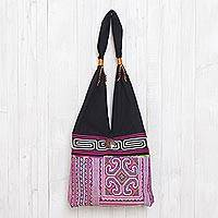 Cotton shoulder bag, 'Thai Brilliance' - Pink and Black Boho-Chic Cotton Shoulder Bag from Thailand