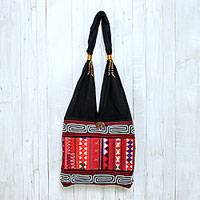 Cotton shoulder bag, 'Thai Dawn' - Thai Multicolored Cotton Shoulder Bag with Geometric Motif