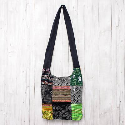 Cotton sling, 'Hmong Culture' - Thai Hill Tribe Cotton Sling Tote Bag with Patchwork Design