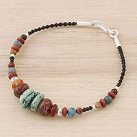 Multi-gemstone beaded bracelet, 'Bohemian Style' - Multi-Gemstone Beaded Bracelet from Thailand