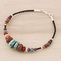 Multi-gemstone beaded bracelet, 'Bohemian Style' (Thailand)