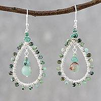 Jasper and prehnite beaded dangle earrings, 'Jasper Drop' - Sea Green Beaded Dangle Earrings with Jasper and Prehnite