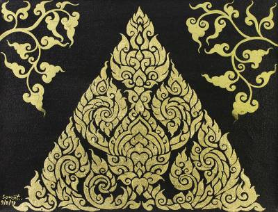 Signed Gold-Tone Folk Art Painting from Thailand