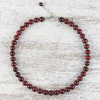 Wood and hematite beaded necklace,