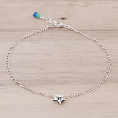 Sterling silver charm anklet, 'Little Flower' - Handmade Sterling Silver and Quartz Floral Anklet