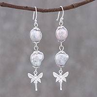 Cultured pearl dangle earrings, 'Heavenly Angel' - Angel Themed Cultured Pearl Dangle Earrings from Thailand