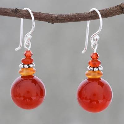 Carnelian beaded dangle earrings, 'Global Wonder' - Carnelian Beaded Dangle Earrings from Thailand