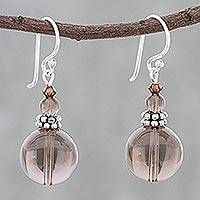 Smoky quartz beaded dangle earrings, 'Global Wonder' - Smoky Quartz Beaded Dangle Earrings from Thailand