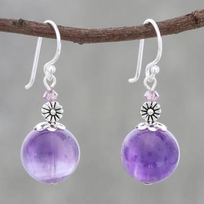 Amethyst dangle earrings, 'Serene Lilac' - Amethyst Beaded Dangle Earrings from Thailand