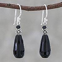 Agate beaded dangle earrings, 'Twilight Desire' - Artisan Crafted Agate Beaded Dangle Earrings from Thailand